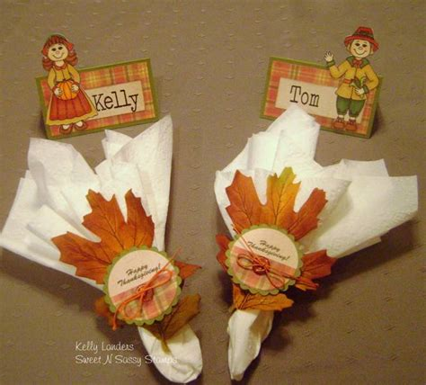 Indian And Pilgrim Photo Place Cards And Napkin Ring Template by Thanksgiving Place Setting Closeup By Kmahany At