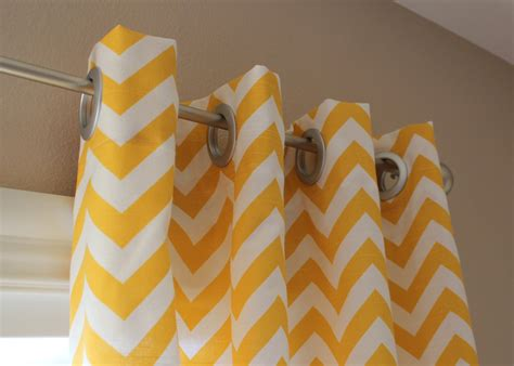 Yellow And White Curtains Pair Of Designer Custom Curtain Panels 50 X 108 Yellow White Zig Zag Chevron With Grommets
