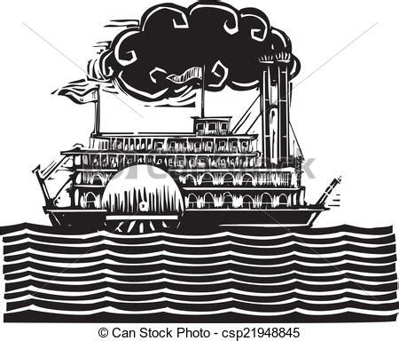 river boat graphics eps vector of side wheel riverboat in waves woodcut