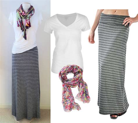 get the look simple and chic way to wear striped maxi skirt