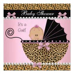 baby shower baby pink leopard 5 25 quot square invitation card zazzle