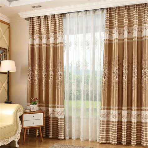 living room country curtains coffee floral striped embroidery polyester country