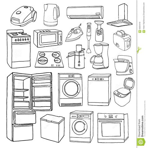 Play Kettle And Toaster Set Household Appliances Hand Drawn Set Stock Vector Image