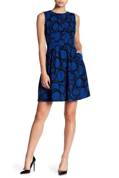 Abstract Flare Mini Dress lyst klein abstract circle fit flare dress in blue