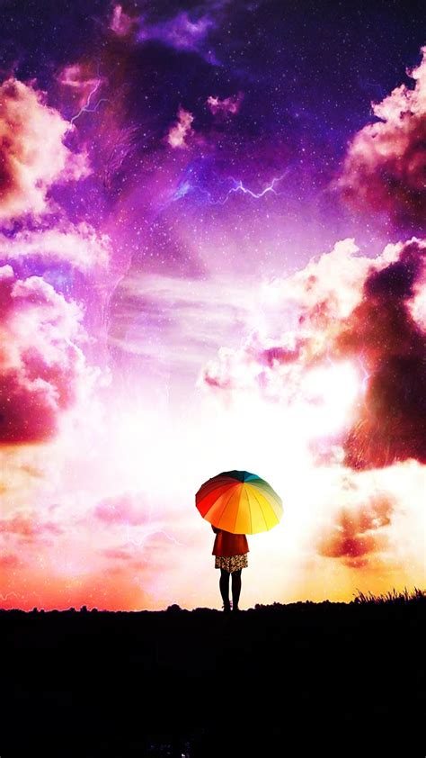 lone girl colorful umbrella sunset clouds  pure