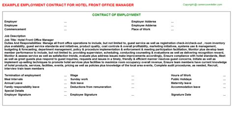 office manager employment contracts