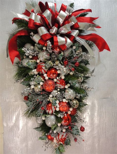 christmas peppermint wreath teardrop wreath for the holidays