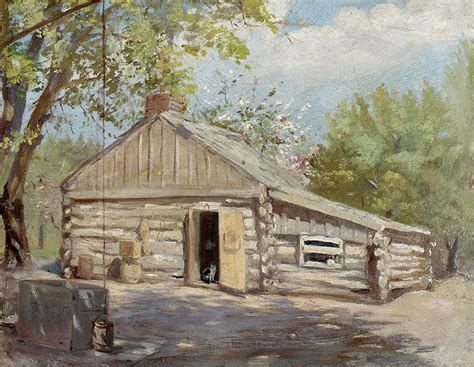 Log Cabin Paintings by Log Cabin By Lewis A Ramsey