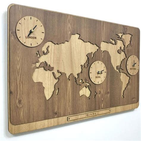 antique map timezones uk forsale 3 in 1 world map clocks modern wall decoration kitchen