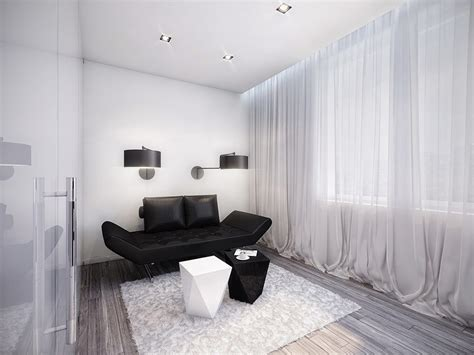 black and white rooms futuristic black and white apartment