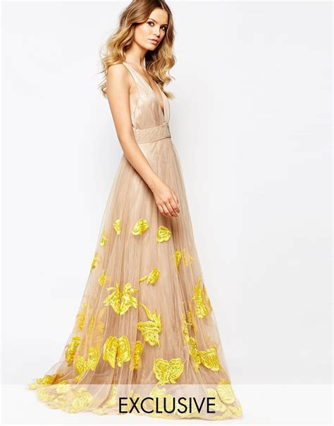 Luxe To Less Tulle Prom Dress by A Is Born Embroidered Tulle Maxi Dress In Pink Lyst