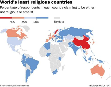 which territory has the least muslim population in the map these are the world s least religious countries the
