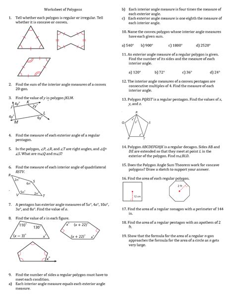 finding interior angles of a polygon worksheet worksheet polygon worksheet grass fedjp worksheet study site