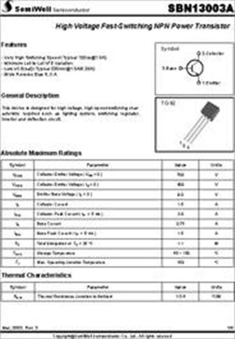 datasheet of transistor 13001 sbn13001 datasheet high voltage fast switching npn power transistor