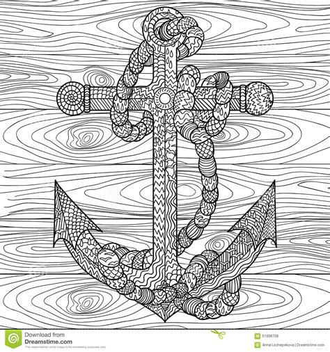 Anchor And Rope In The Zentangle Style Stock Vector Cool Things To Print And Color L