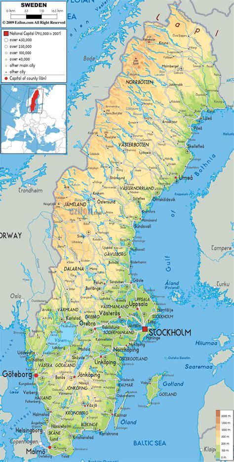 physical map of sweden physical map of sweden ezilon maps