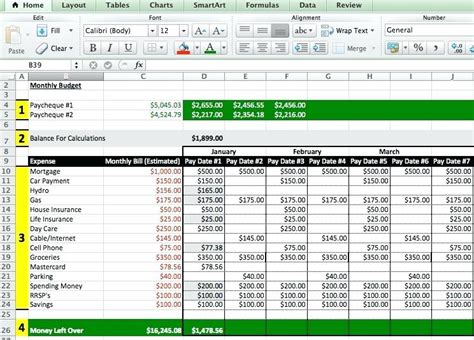 budget format on excel exle of excel spreadsheet for bills dtk templates