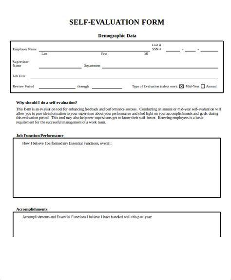 self appraisal form template employee evaluation form exle 13 free word pdf