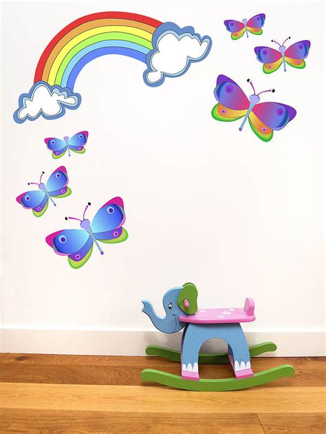 large rainbow wall stickers rainbow and butterfly wall stickers by chickp