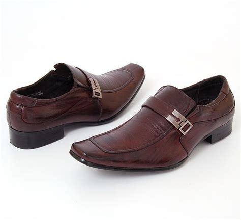 mens leather dress shoes buckle loafers slip on shoe