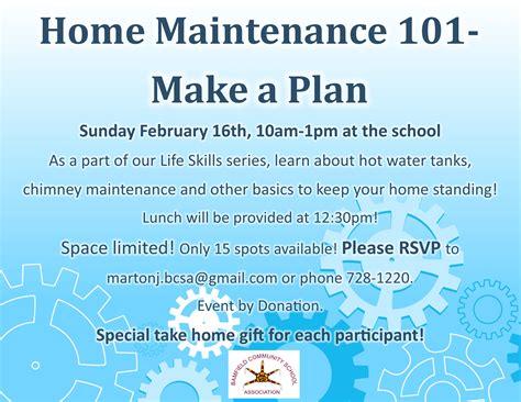 home maintenance plan bulletin board bamfield community school association