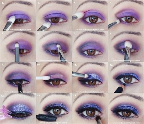 tutorial makeup glitter indian vanity case purple glitter eye makeup tutorial