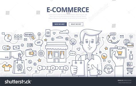 doodle free website doodle design style concept ecommerce sales stock vector