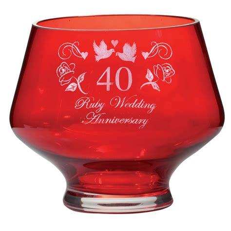 40th Wedding Anniversary Gift Ruby by Cut Crystalware Ruby Heeled Bowl Ruby Wedding