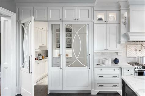 Hidden Pantry Behind Mirrored Cabinet Door Transitional Mirrored Kitchen Cabinet Doors