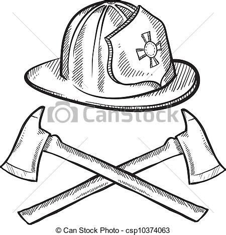clip art vector of firefighter items sketch doodle style