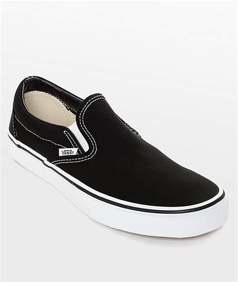 Vans Slip On Black vans classic slip on black white shoes zumiez
