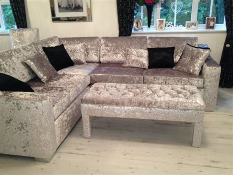 Velour Corner Sofa by Bespoke Crushed Velvet Corner Sofa Interiors