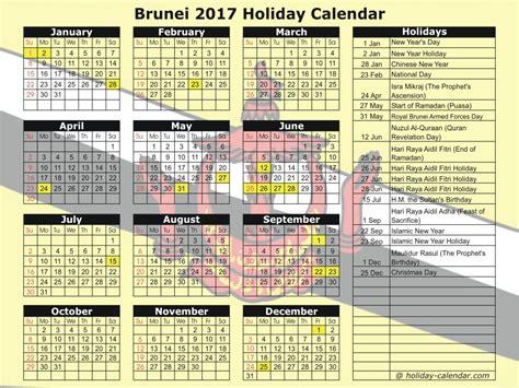 brunei 2017 2018 calendar