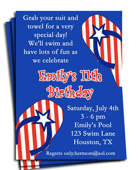 4th of july invitation templates fourth of july pool invitation printable or printed with