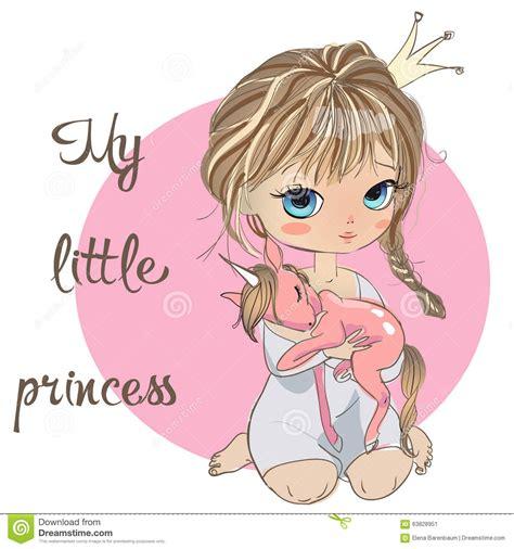 Princesse De Fille Avec La Licorne Illustration De Vecteur