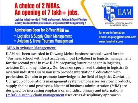 Mba In Shipping And Logistics In India by Ppt Institute Of Logistics Aviation Management