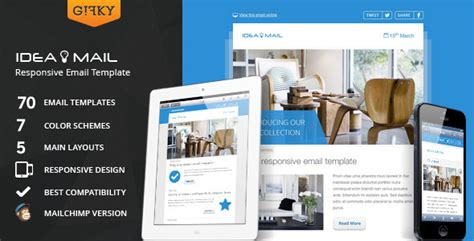 Idea Mail Minimal Responsive Email Template By Gifky Themeforest Responsive Email Template Themeforest