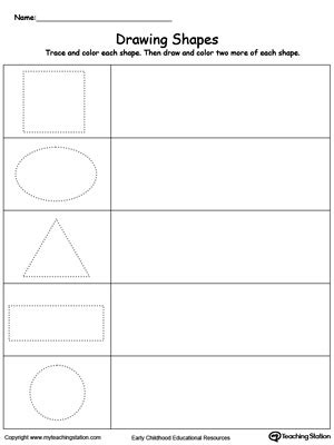 draw shapes free early childhood math worksheets myteachingstation