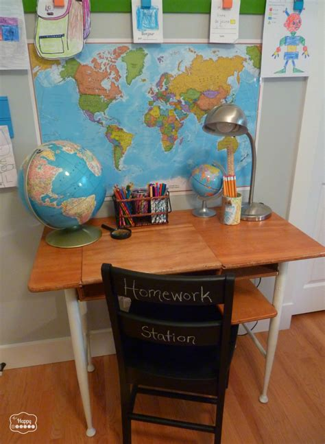 thrifted upcycled homework station with a vintage school