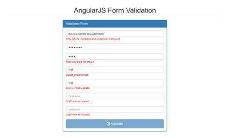 pattern validation in angularjs angularjs form validation free source code tutorials