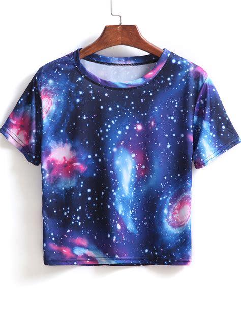 Promo Batik Top Blue Nisa blue sleeve galaxy print crop t shirt shein sheinside
