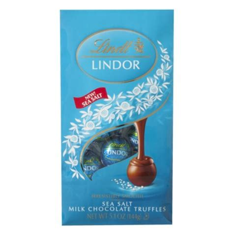 Lindt Truffle   Lindt Lindor Truffles Sea Salt Milk Chocolate (Blue wrap),5.1 oz Bag (Single)