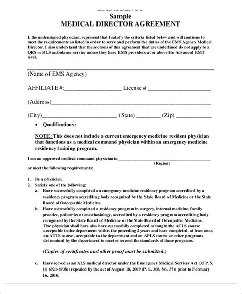 9 director agreement templates free sle exle