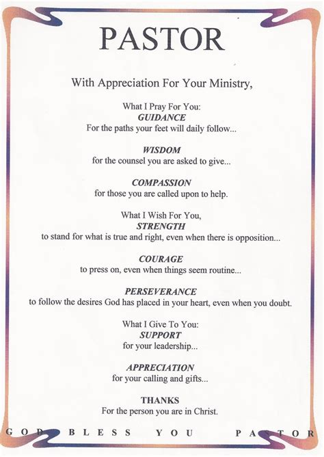 appreciation letter minister pastor appreciation poems or quotes quotesgram
