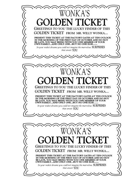 Rpf Best Resource Ever I Used This Site For About 90 Of My Harry Potter Printables This Is Golden Ticket Template Word Document