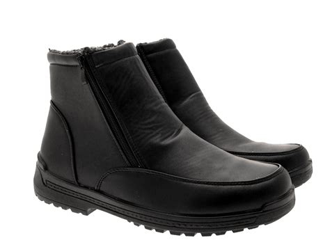 mens fur lined boots mens snow warm fur lined mucker work ankle boots black zip