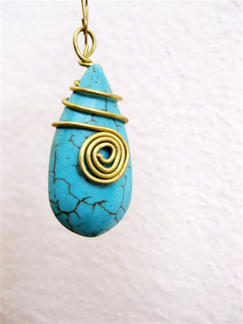 Handmade Jewelry Thailand - drop dangle earring brass wire wrap thailand