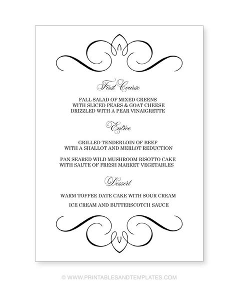 Wedding Menu Template Great Printable Calendars Wedding Menu Template Free