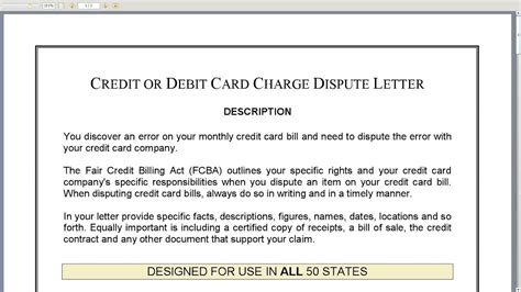 Credit Or Debit Card Charge Dispute Letter Youtube Card Letter Template