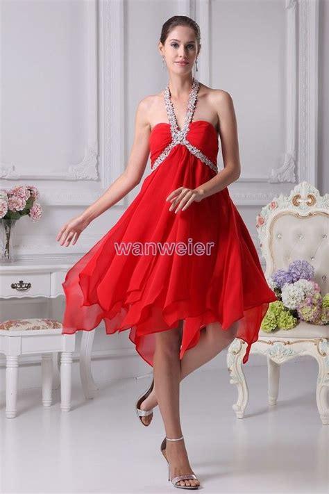 baldrick bridesmaid cute sheath baldric halter mini chiffon red evening dress